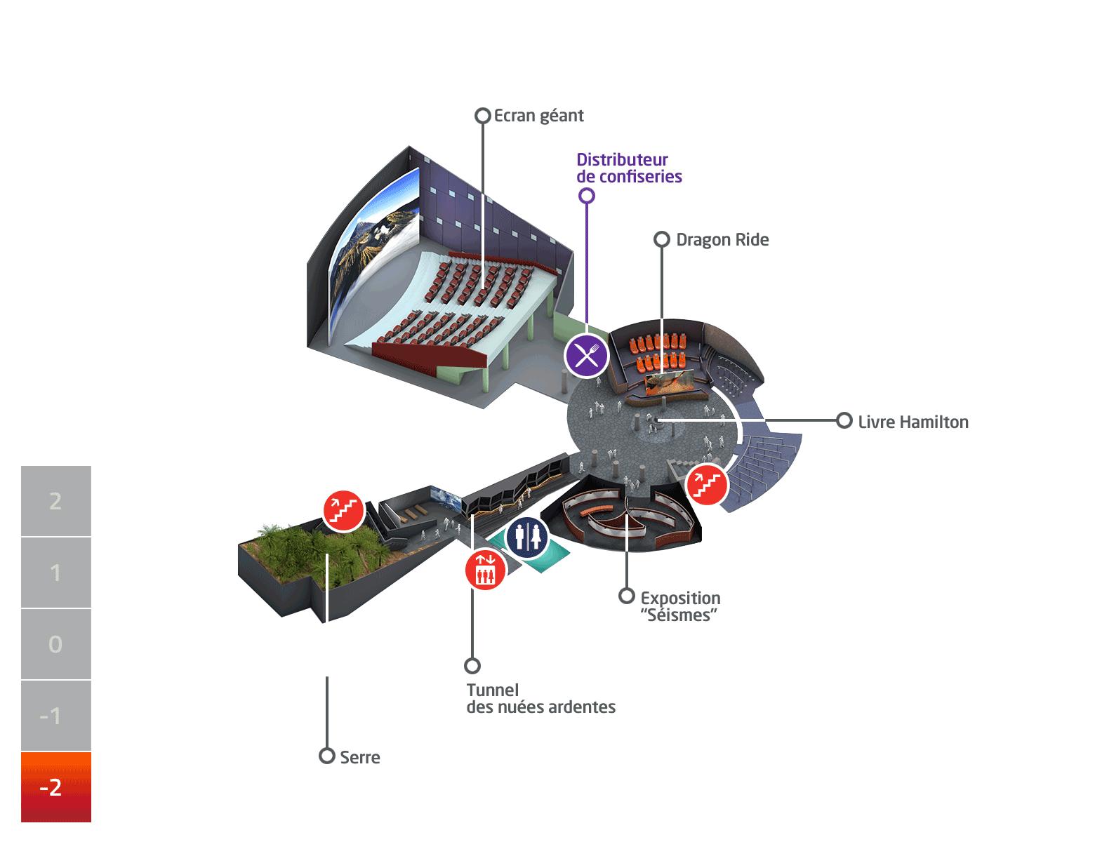 Plan du parc Vulcania - Niveau -2