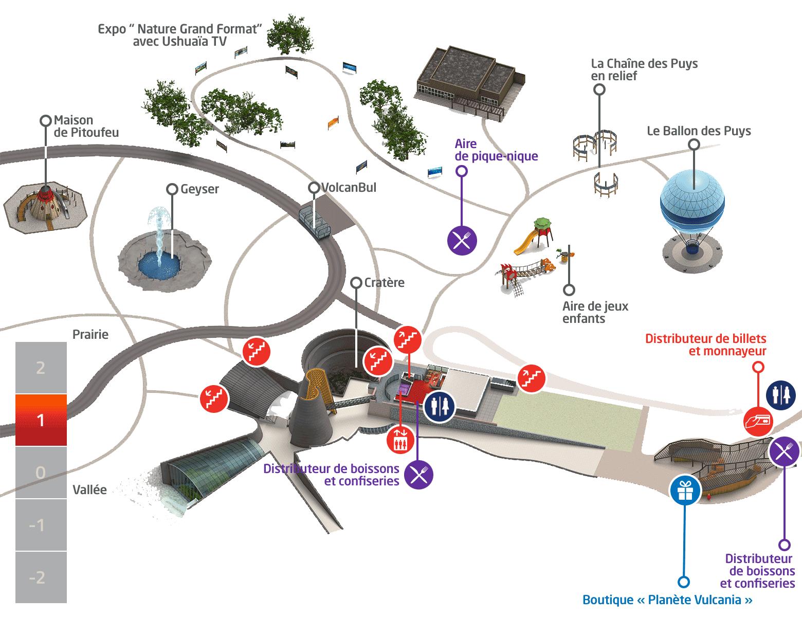 Plan du parc Vulcania - Niveau +1