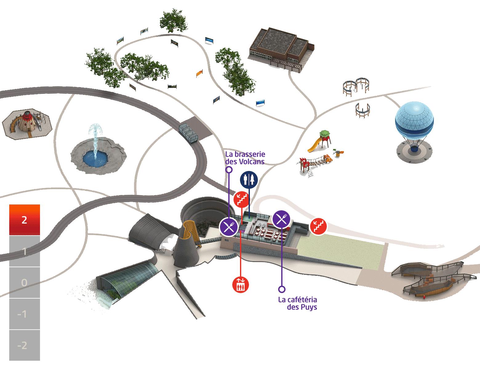 Plan du parc Vulcania - Niveau +2
