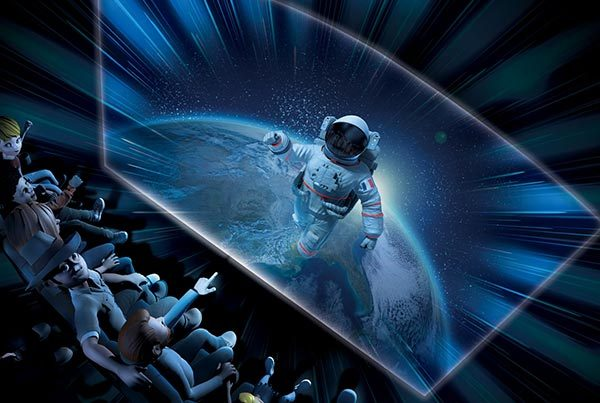 Film Dans les yeux de Thomas Pesquet projeté sur écran géant au parc d'exploration Vulcania