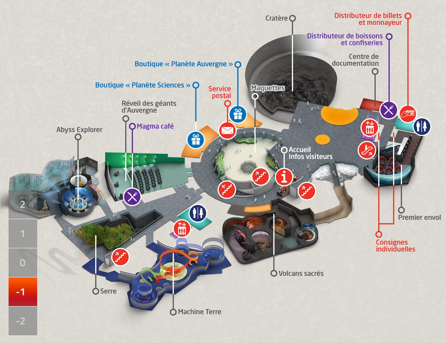 Plan du parc Vulcania - Niveau -1
