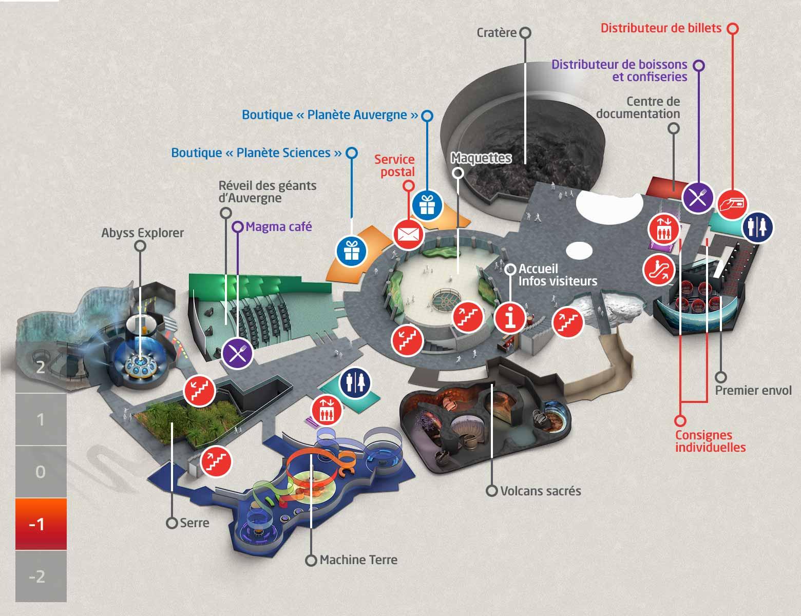 plan du parc Vulcania niveau -1