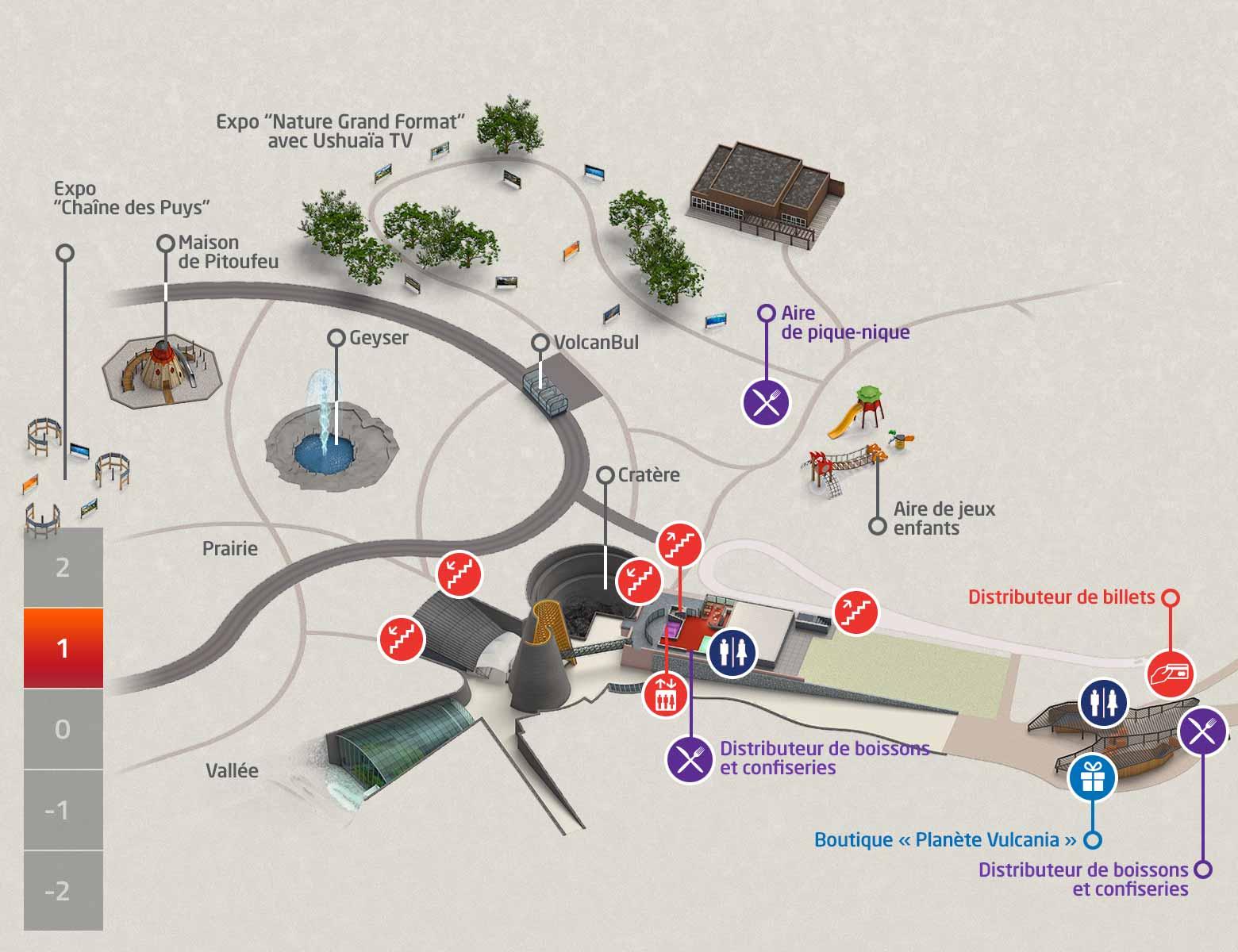 plan du parc Vulcania niveau +1