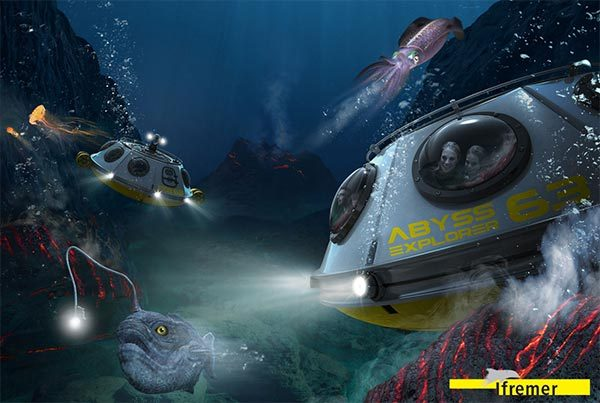Animation Abyss Explorer au parc d'exploration Vulcania : explorez les volcans sous-marins !