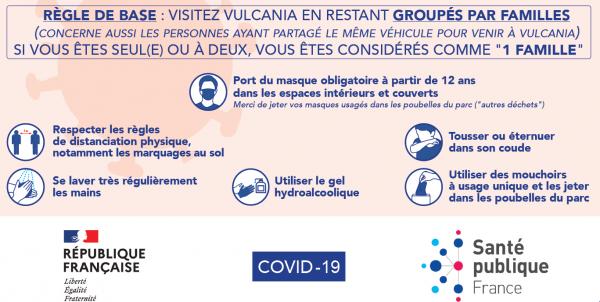 Retrouvez toutes les mesures appliquées par le parc Vulcania pour garantir la sécurité sanitaire des visiteurs