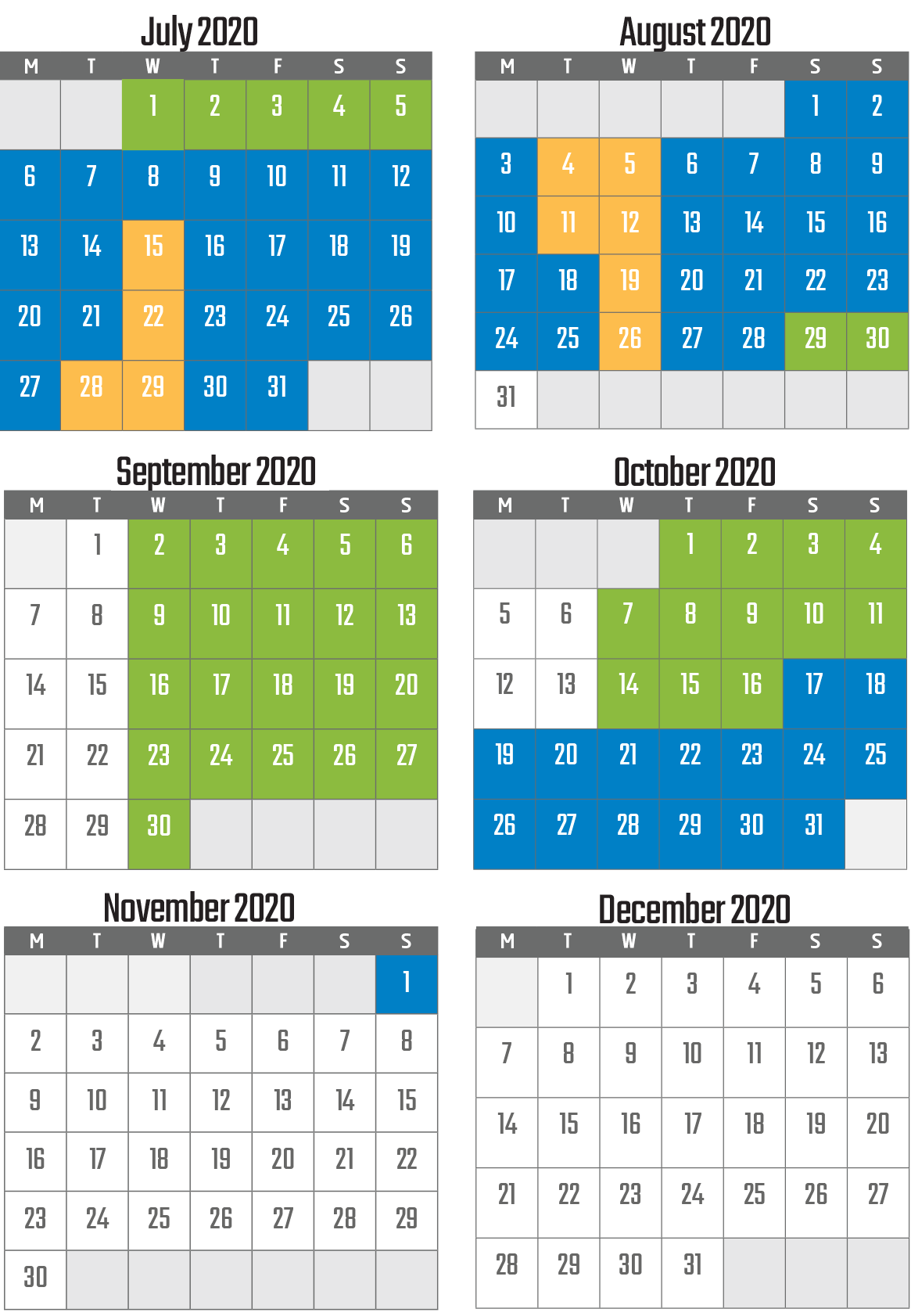 calendar with opening times of vulcania in 2020