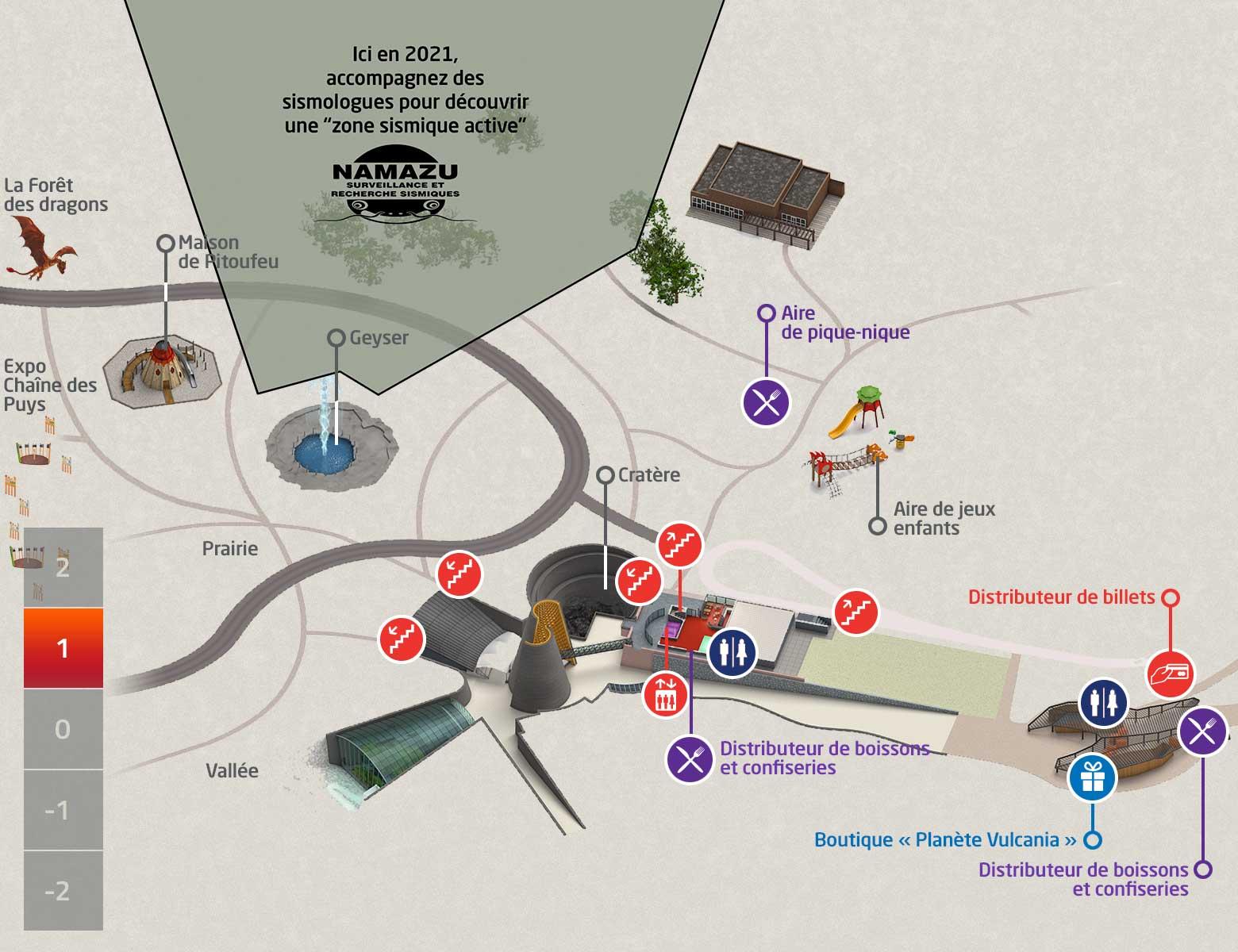 Plan niveau +1 des animations et services du parc d'exploration Vulcania