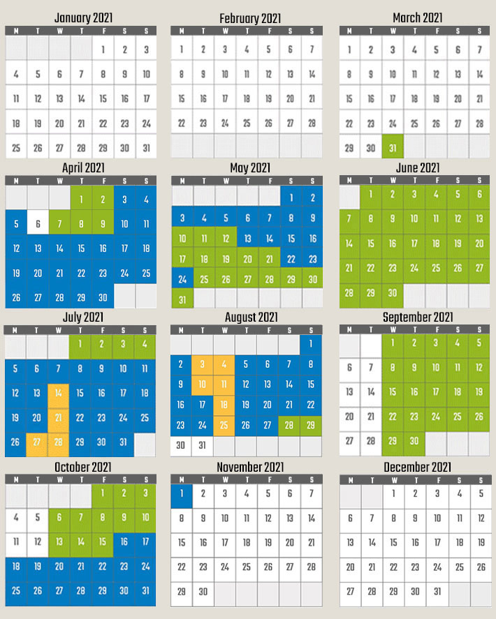 Calendar with opening dates and times of Vulcania in 2021