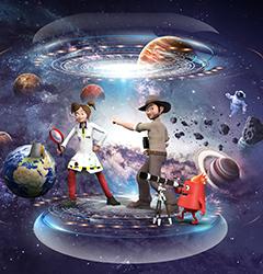 Animations sur le thème de la Terre dans l'Espace au parc Vulcania en Auvergne