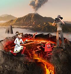 Animations sur le thème des Volcans au parc Vulcania en Auvergne
