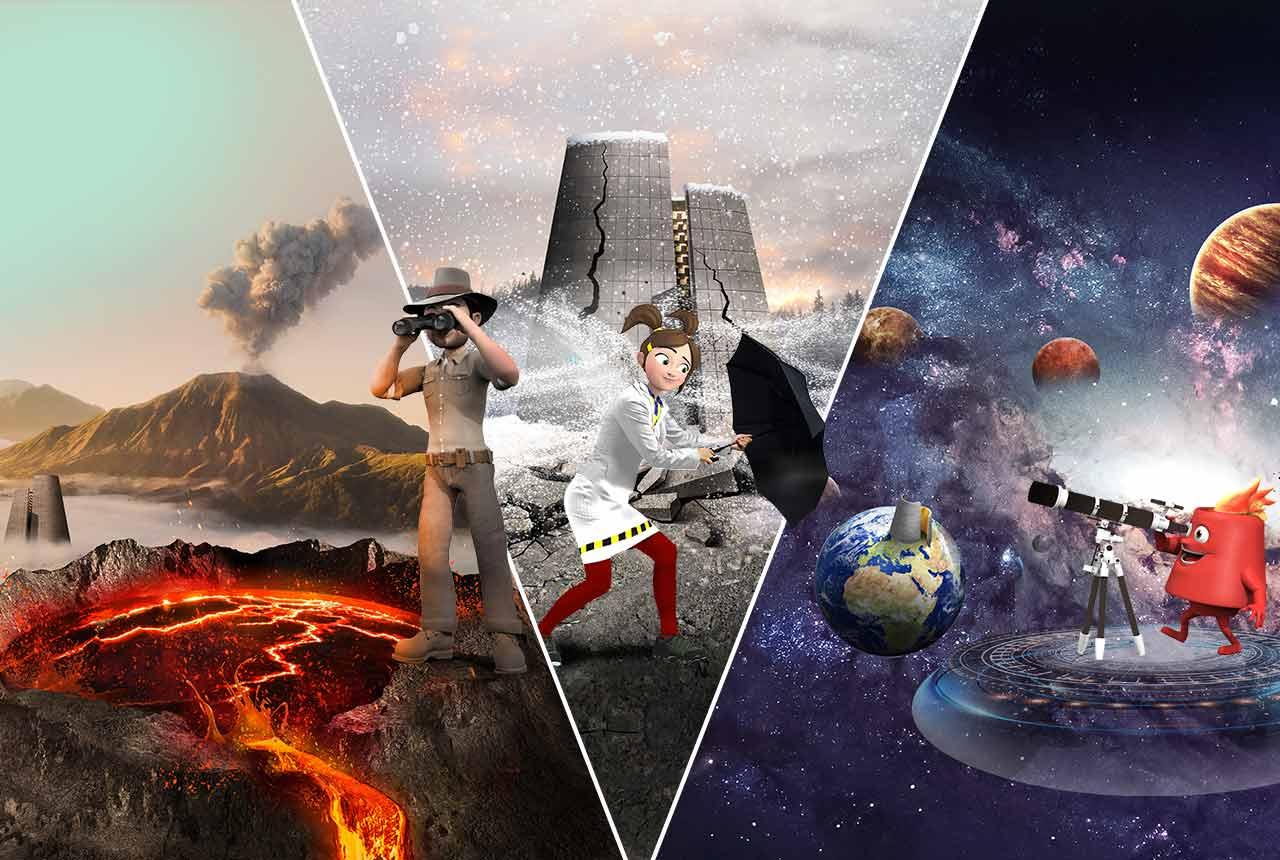 Découvrez les 3 univers thématiques du parc Vulcania : les volcans, les phénomènes naturels, et la Terre dans l'espace